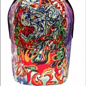 Fire tiger bling colorful cap.